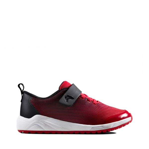 Clarks Girls Aeon Pace Kid Trainers Red | UK-6254897
