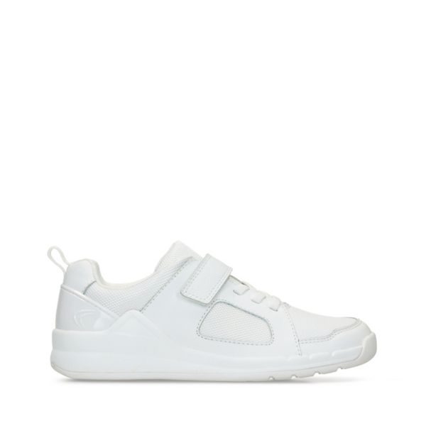 Clarks Girls Orbit Ride Trainers White | UK-7591602