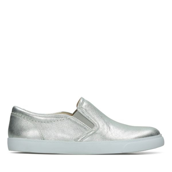 Clarks Womens Glove Puppet Flat Shoes Silver Metal | UK-3572468